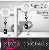 Indyra Originals: Briolette Crystal Drop Earrings: Noir