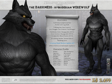 """The Darkness"" Hybriderian Werewolf (The First Generation Lycan)"