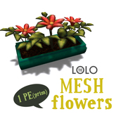LOLO potted peach flowers (100% mesh, equals one prim!)