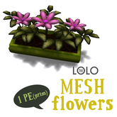 LOLO potted pink flowers (100% mesh, equals one prim!)
