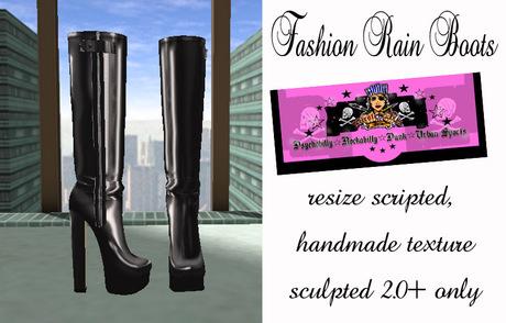 =PIA= Box Fashion Rain Boots -black-