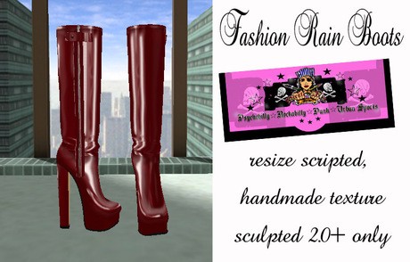 =PIA= Box Fashion Rain Boots -bordeau-