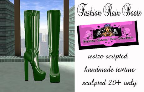 =PIA= Box Fashion Rain Boots -green-