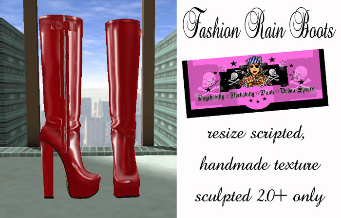 =PIA= Box Fashion Rain Boots -red-