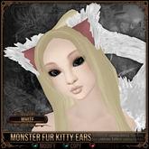 [Mesh] =^.^= Curious Kitties - Monster Fur Kitty Ears - White