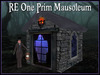 RE One Prim Mausoleum w/Ghost - Sculpted - Spooky Graveyard Decoration!