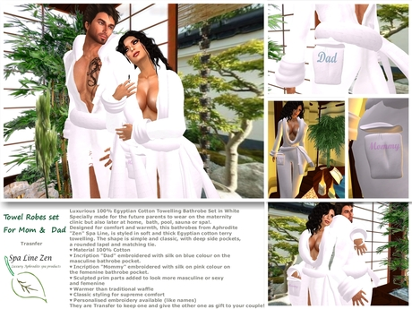 """Towel robe set for """"Mommy"""" and """"Dad"""" (boxed)"""