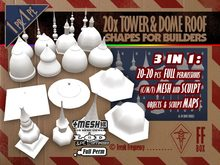 [FFBox] 20x Tower And Dome Roof Shapes Set {MESH+Sculpt+Maps, Full Perm} for Builders
