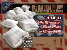 [FFBox] 10x Natural Pillow Shapes Set {MESH+Sculpt+Maps, Full Perm} for Builders