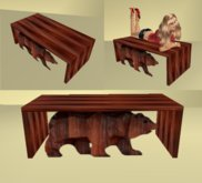 wood bear  coffee table..closed sides