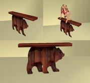 wood bear wall table