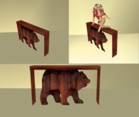 wood bear wall table ..closed sides
