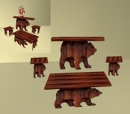 wood bear table set