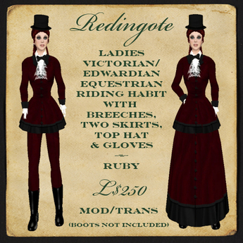 Second Life Marketplace Montagne Noire Le Redingote Victorian Edwardian Riding Habit Ruby