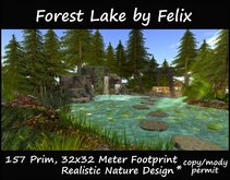 Forest Lake by Felix 157 prim (for pond nature cave grotto waterfall landscaping garden tree plant home river pine )