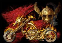 Gold Flame Bike Animated Picture