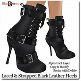 Laced & Strapped Black Leather Heels
