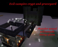 Vampire home, crypt and cemetery, halloween,