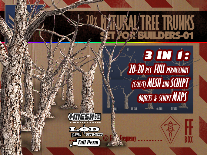 [FFBox] 20x Natural Tree Trunks Set-01 {MESH+Sculpt+Maps, Full Perm} for Builders