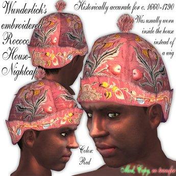 Wunderlich's Red embroidered Rococo House-/Nightcap