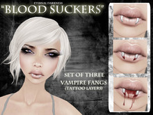 "::ED::""Blood suckers"" set of 3 vamp fangs tattoos"