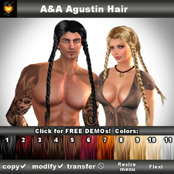 A&A Agustin Hair DEMOs, rather slim and tight fit unisex style with 4 braids. REALLY 4 !