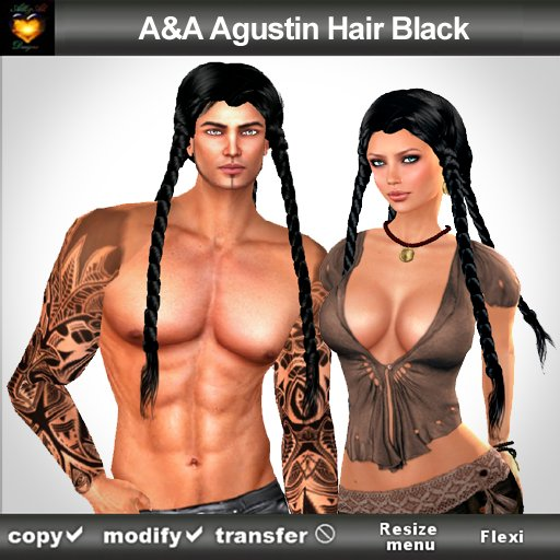 A&A Agustin Hair Black (Color 1). Rather slim and tight fit unisex style with 4 braids
