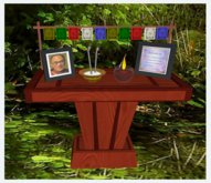 Bliss Designs ~ Bodhisattva Vow & Dalai Lama Picture Chery Table Prayer Flag Candle Insence ~ May all Be Happy