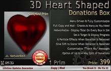 3D Heart Shaped Donations Box