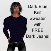 Dark Blue Knitted sweater Jumper & FREE Jeans!