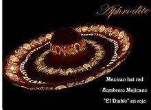"""Sombrero """"El Diablo"""" / Mexican Hat in red (boxed)"""