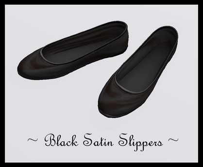 Black Satin Slippers ~ These