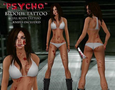 "::ED:: ""psycho"" Full body bloody tattoo"