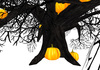 BLACK Halloween Tree with 8 pumpkins - 5 prims only! Fully sculpted, copy, modify, resize up to 64m. Jack o lantern tree