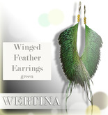 WERTINA Winged Feather Earrings - green