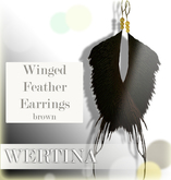 WERTINA Winged Feather Earrings - brown