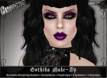 BOM [Curves] Gothika Make-up *01 combo (Purple Eyeshadow + Eyeliners + Purple Lipstick) + Eyelashes + Gray Eyes*