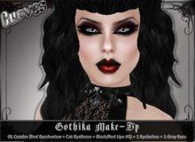 BOM [Curves] Gothika Make-up *1 combo (Red Eyeshadow + Eyeliners + Black/red Lipstick #1) + Eyelashes + Gray Eyes*