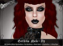 [Curves] Gothika Make-up *01 combo (Silver Eyeshadow + Eyeliners + Black Lipstick) + Eyelashes + Gray Eyes* ONLY 99L