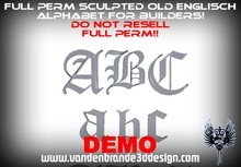 ~Full perm Sculpted Alphabet With maps to make it nano 1 prims each letter! ( OLD ENGLISCH Script / Font )(DEMO)
