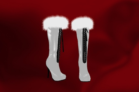 White Fur Lined Laced up Knee Boots