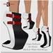 Blackburns Black & White Red Straps Gaga Platform No-Heels