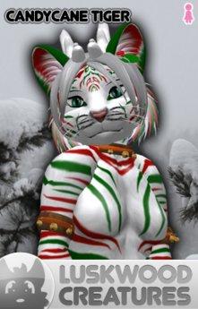 Luskwood CandyCane Tiger Furry Avatar - Female