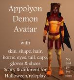 Appolyon Demon Avatar, skin, shape, hair, horns, tail, cape *