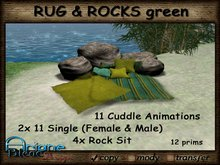 --- Special Offer --- Blanket to Cuddle up with Pillows and Rocks - green --