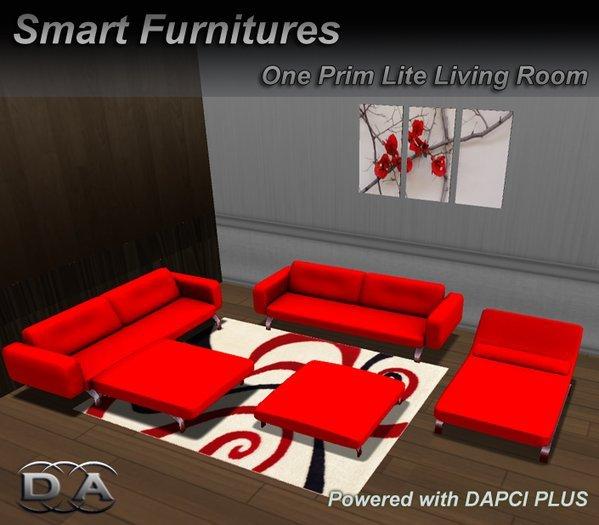 Second Life Marketplace Lite Red Livingroom Set Furniture Rezzer