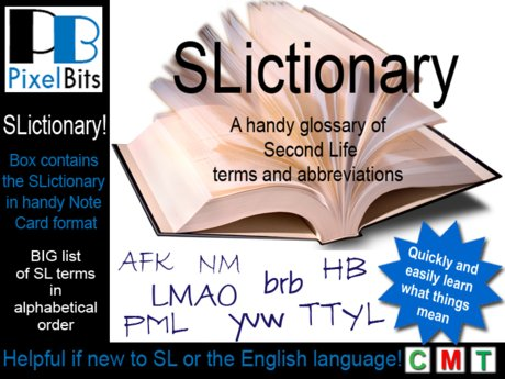 SLictionary - a helpful list of SL words and terms