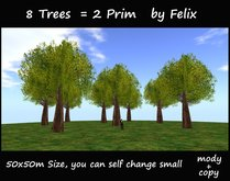 8 trees 2 prim 50x50m size copy/mody (for landscaping cave grotto cavern waterfall tree plant rock stone mountain garden