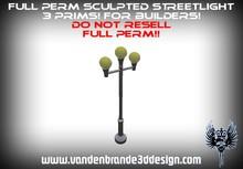 FULL PERM 3 prim Streetlight For Creators + maps Easy to texture!