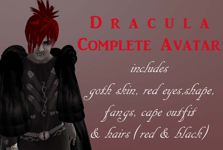 Vampire Complete Avatar with outfit, goth skin, red eyes, fangs